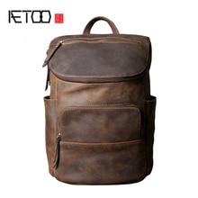 AETOO Original leather shoulder bag men and women backpack handmade retro classic multi - purpose