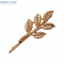 Simple Refined Gold Leaf Hairpin Headdress Hair Accessories Girls Hairwear Jewellery Clip Metal Chain Girly