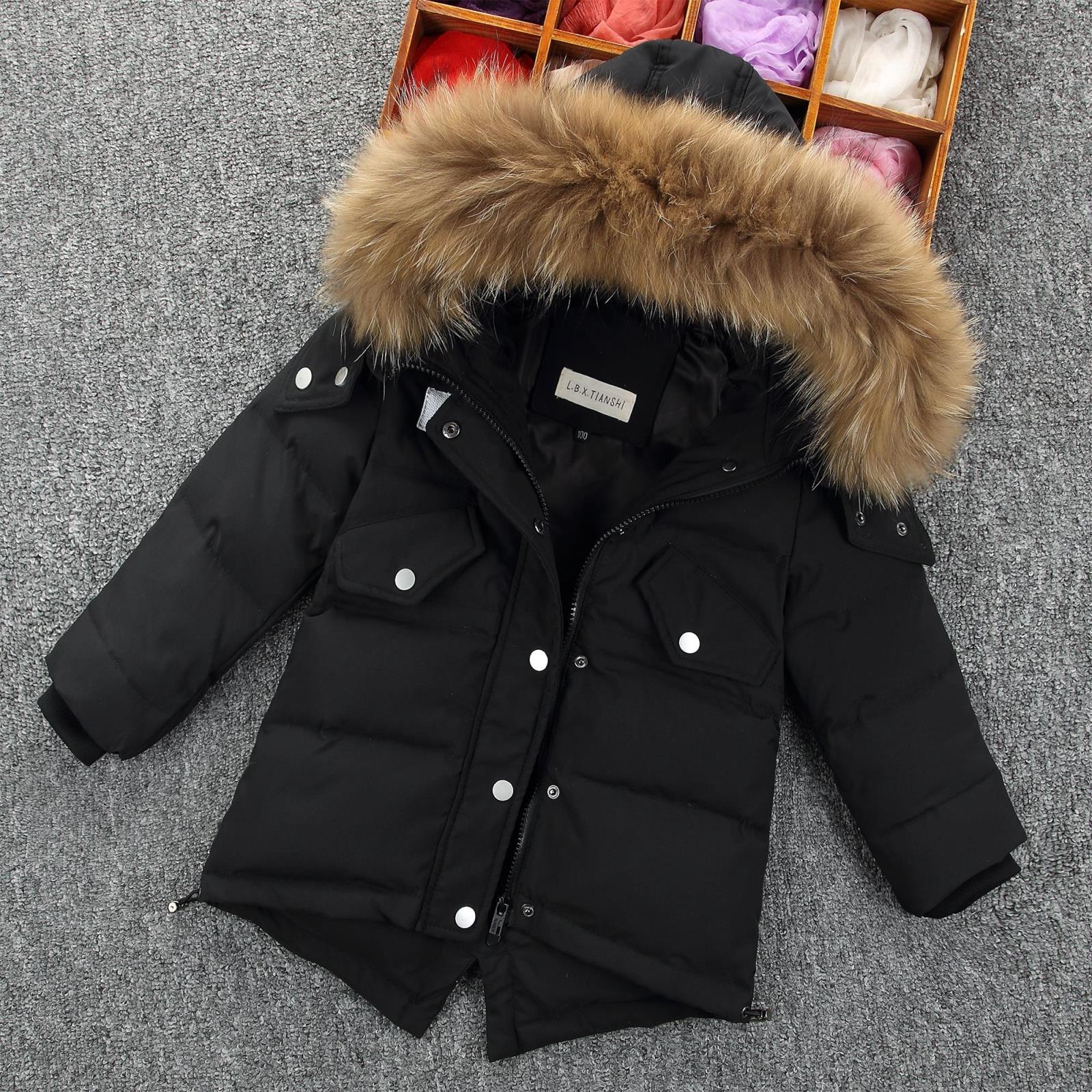 Winter Down Jacket Parka Girl Fur Hooded Thicken Coats Padded Warm Children Clothing Snow Wear Kids Outerwear&Coats bjcjwf 2017 winter jacket women wadded long parkas female outerwear hooded coat cotton padded fur collar parka thicken warm 1pc