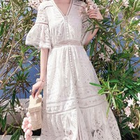 Embroidery hollow out autumn winter dress women White elegent Flare sleeves short dress Causal cotton dress vintage V NECK 2019