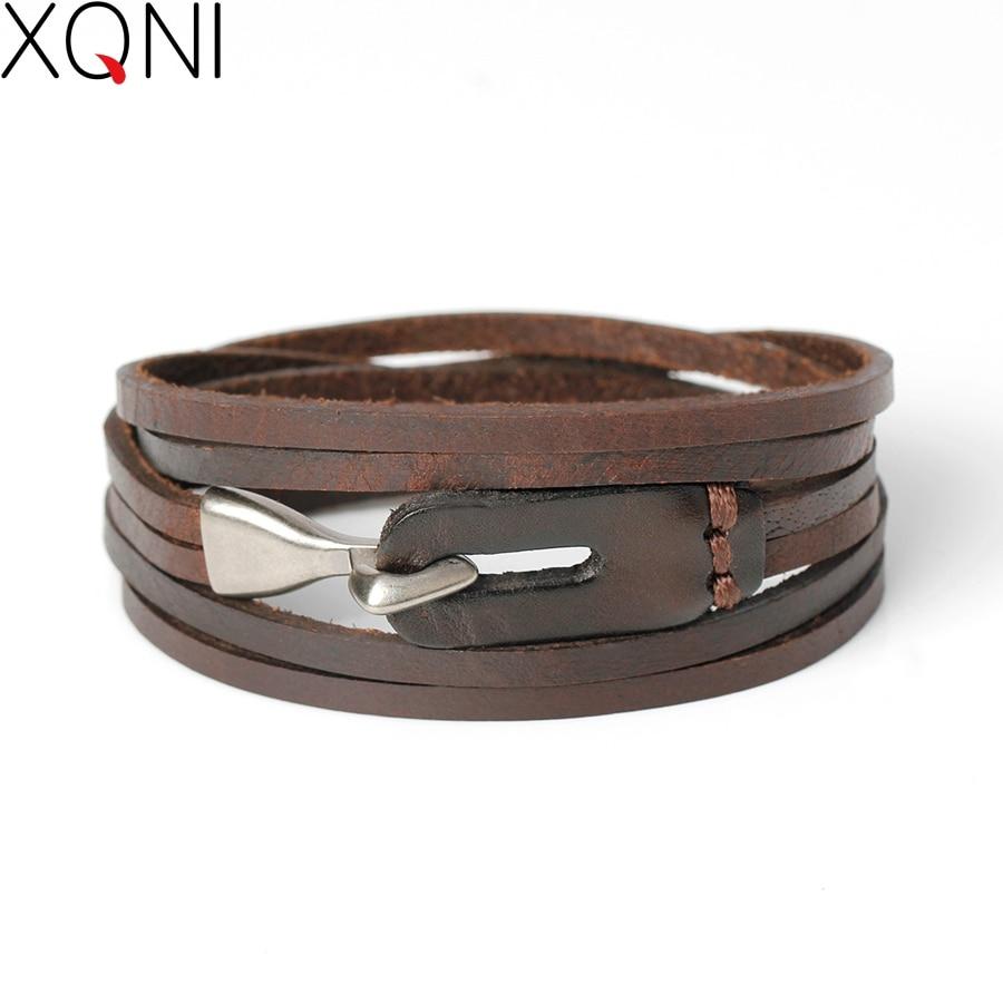 XQNI New Fashion Բնական Կաշի Կեռիկի Ապարանջաններ Տղամարդկանց համար Հանրաճանաչ ասպետ Քաջություն վիրակապ հմայքը Ապարանջան և փուչիկներ: