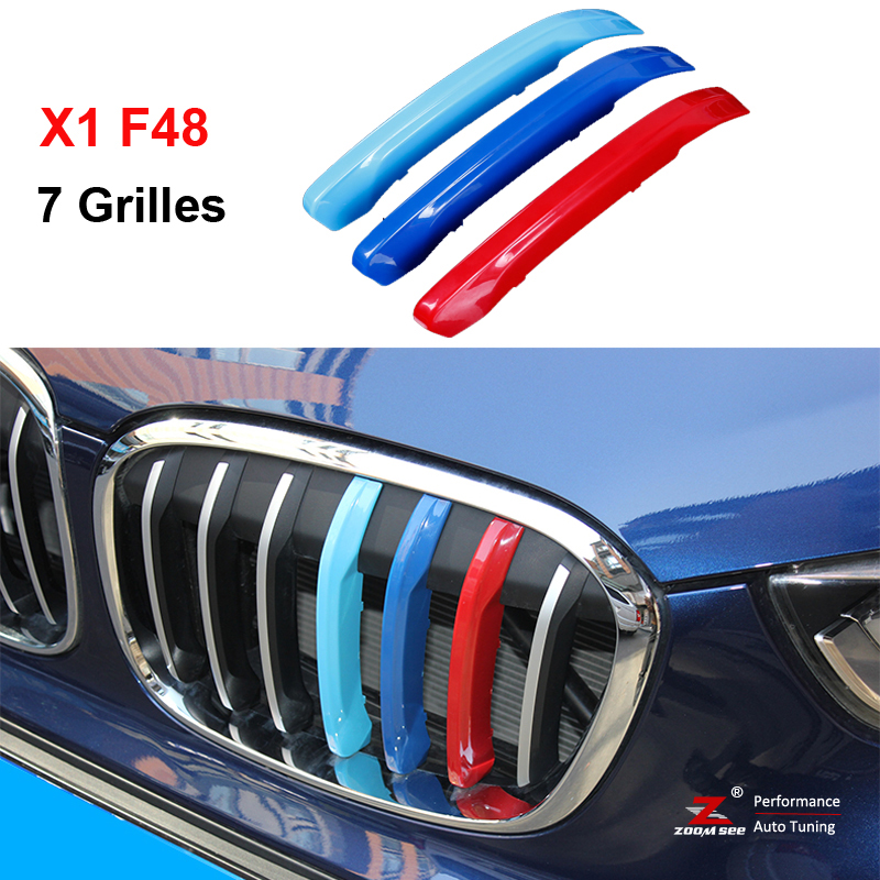 3colors M Styling Front Grille Trim motorsport Strips grill Cover Decoration Stickers for 2016-2017 BMW X1 F48 7 Grilles car styling fit for toyota land cruiser 2016 abs chrome front grille grills cover body strip decoration racing grilles 2pcs