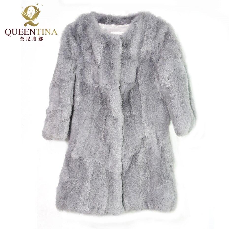 Heiße Frauen Echte Kaninchen Pelzmantel Jacken Echte Pelzmantel - Damenbekleidung - Foto 6