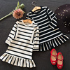 New Arrival Autumn Baby Girl Stripe Design Princess Dress Clothes Long Sleeve Cotton Mermaid Dress Toddler