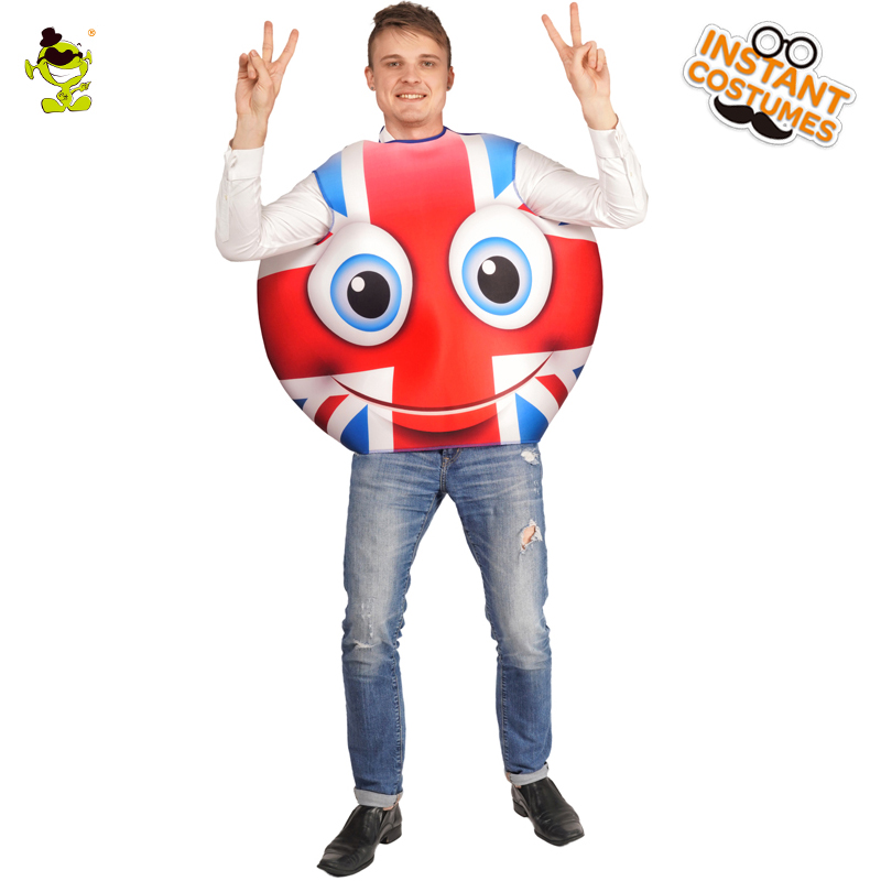 National Flag Emoji Britain Smiling Face Jumpsuit Fancy Dress Carnival Party for Adult Unisex Smile Emoticon Outfits