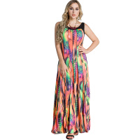 Sleeveless Plus Size Dress Clothing Women Ice Silk Large Size 8xl Colourful Boho Long Dress Vestido