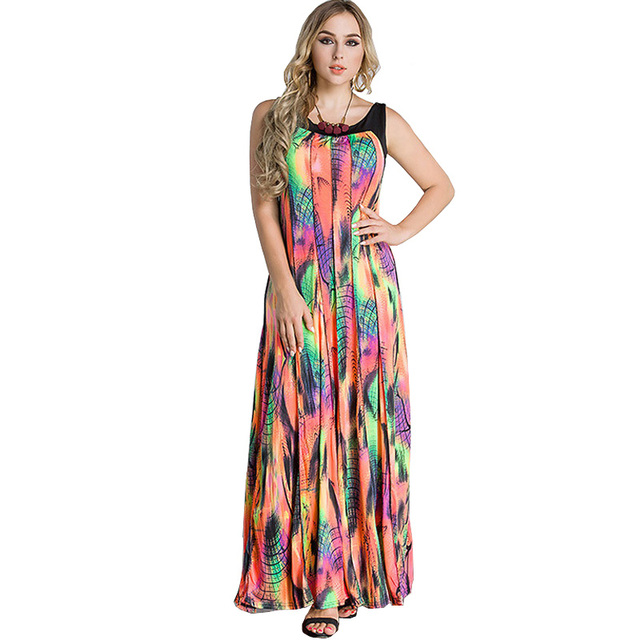 6cb558ccf96 US $42.17 |Sleeveless Plus Size Dress Clothing Women Ice Silk Large Size  8xl Colourful Boho Long Dress Vestido Largos De Verano Casual Robe-in  Dresses ...