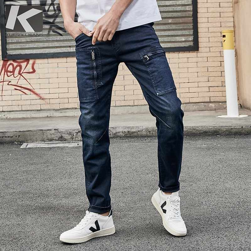KUEGOU 2019 Autumn Cargo Jeans Men Brand Slim Fit Ripped Distress Pants For Male Fashions Streetwear Hip Hop Denim Trousers 2938