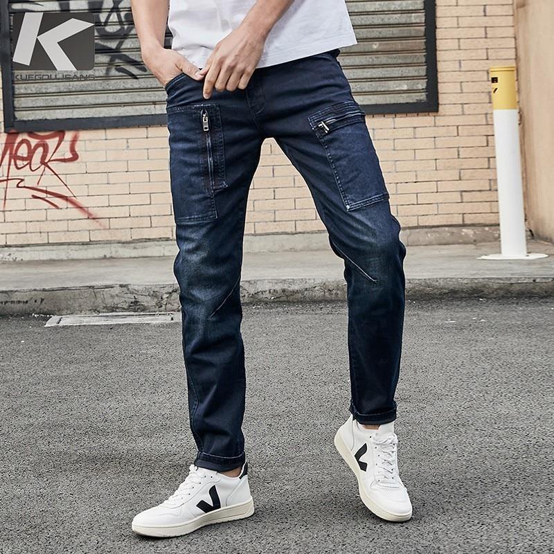 KUEGOU 2019 Autumn Cargo Jeans Men Brand Slim Fit Ripped Distress Pants For Male Fashions Streetwear Hip Hop Denim Trousers 2938