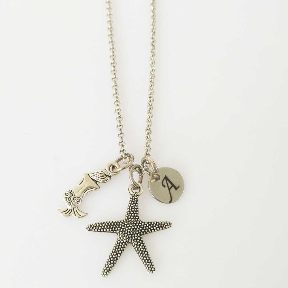 ที่กำหนดเองเริ่มต้น Creative Starfish สร้อยคอจี้ Mermaid Shell Clavicle Chain สร้อยคอสำหรับสาวของขวัญของที่ระลึก