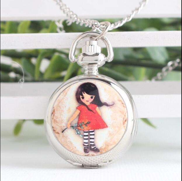 Wholesale 10 PCS Fashion Quartz Enamel Girl Design Children's Birthday Present Necklace Pocket Watches