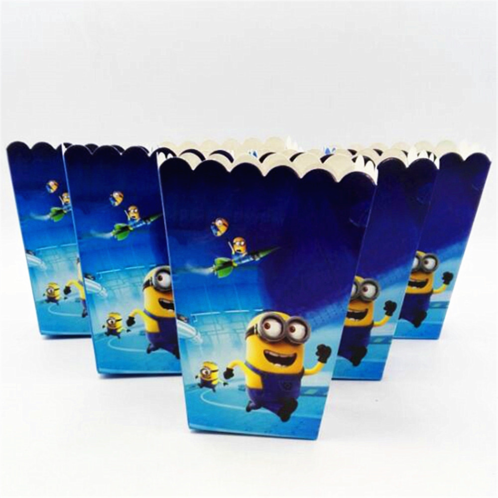 HOT 6pcs/lot Minions cartoon paper movie Popcorn/snack/candy box Birthday Decoration Baby Shower Minions Party Supplies
