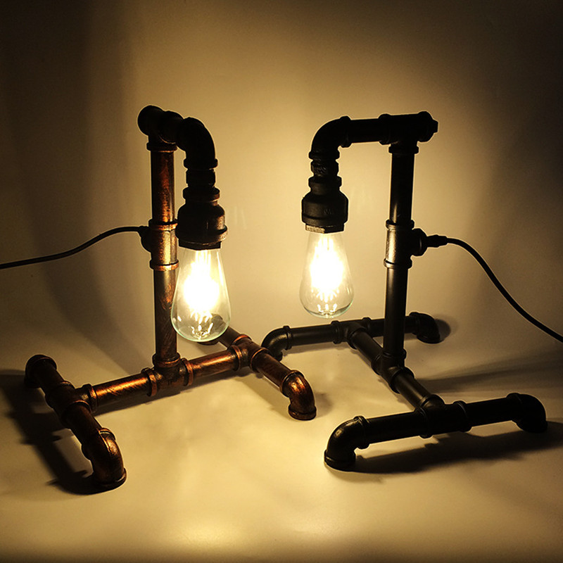 Rétro Fer tuyau D'eau décoration lampe De Bureau E27 Personnalité Vintage Industrielle Vent Chaud Style lampe de Bureau pour L'étude Chambre