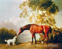 Paintings for living room wall Bay Horse and White Dog George Stubbs High quality Hand painted