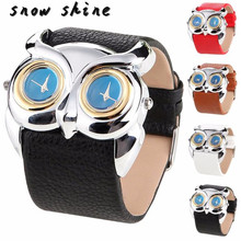 snowshine #10    Leather Owl Double Dual Dial 30M Waterproof Sport Watch   free shipping