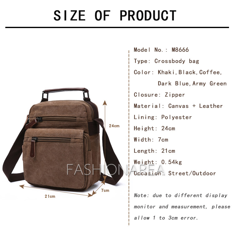 06abdbd01364 Large Capacity Men s Crossbody Bag IPAD Canvas Top Leather Handle ...