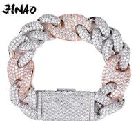 JINAO NEW 20mm Miami Lock Clasp Cuban Link 7 9 Inch Bracelet Iced Out AAA Cubic Zircon Bling Hip hop Men Jewelry Gift