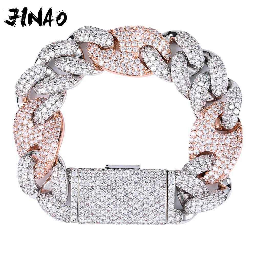 JINAO nouveau 20mm Miami serrure fermoir lien cubain 7-9 pouces Bracelet glacé AAA cubique Zircon Bling Hip hop hommes bijoux cadeau