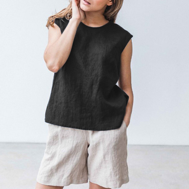 Women'S Top Cotton Linen...