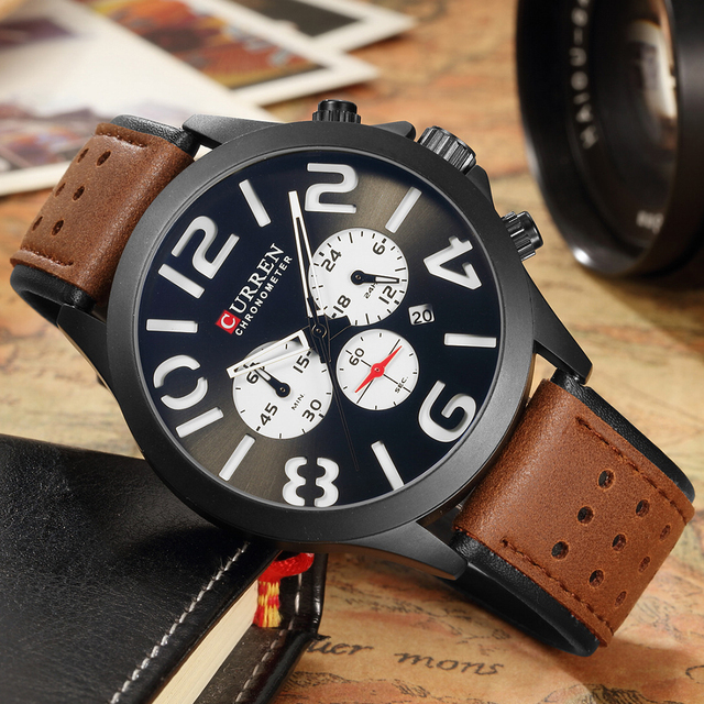 d2b45a93ac36 Curren hombres relojes hombre 2018 Top marca de lujo reloj hombres de cuero reloj  cronógrafo relojes