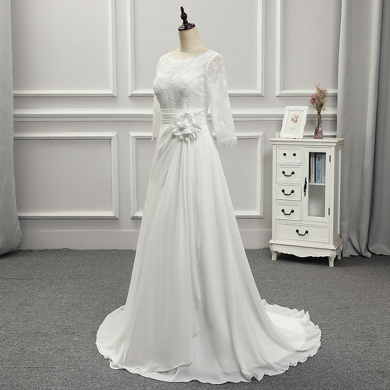 BackLake Girls New Listingl Custom Made A Line Satin and Lace with Bow Flowers O Neck Back Button Three Quarter Wedding Dresses