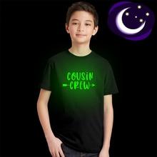 Graphic Tee Tshirt Cousin Glow-In-The-Dark Kids Tops Short-Sleeve Girls Summer Crew Casual