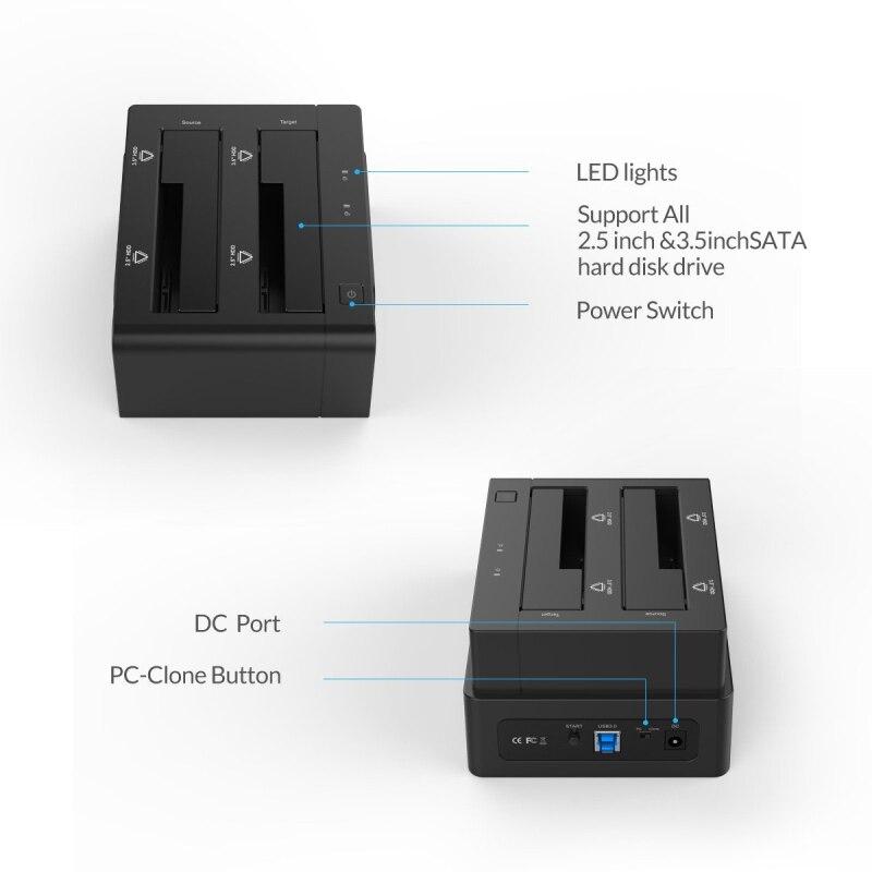 ORICO Station d'accueil 2.5 3.5 double baie USB 3.0 à SATA HDD boîtier ssd disque dur outil gratuit duplicateur 16 to pour Windows Mac OSX9.1 - 3