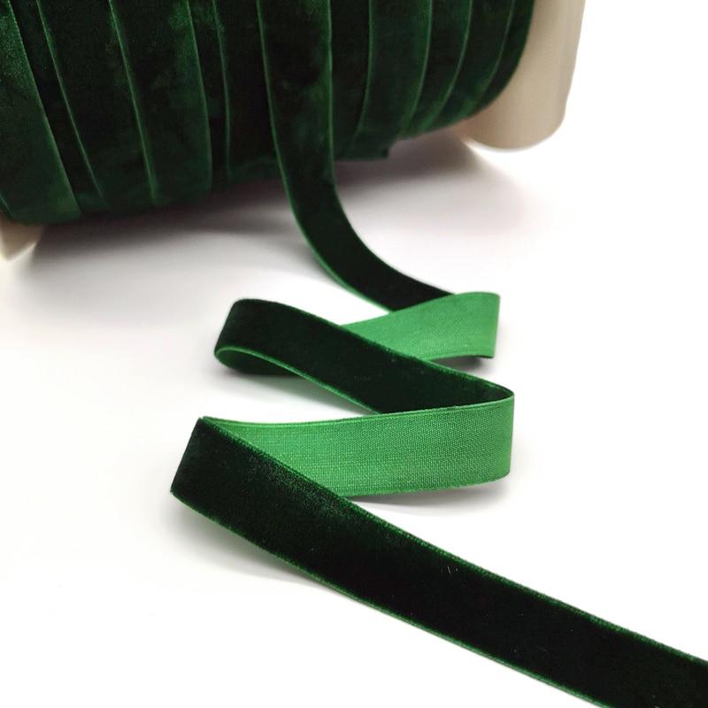 5 ярдов 6-25 мм бархатная лента для украшения свадебной вечеринки ручная работа лента для упаковки подарков бантик для волос DIY Рождественская лента - Цвет: Dark Green