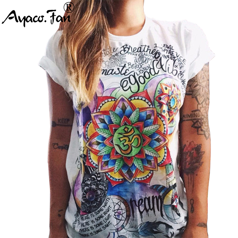 Cool Girls T-Shirts Plus Size 2019 Summer New Vintage Totems Print Short Sleeve Loose Women T-Shirt Casual Lady Slim Tops Tees