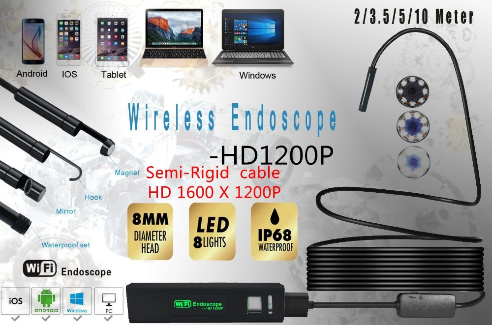 XINFICAM Wifi endoscope camera 8mm 1200P HD for Android iOS iphone Wire pipe Snake Camera car inspection camera Semi-rigid cable gakaki hd 8mm lens 20m android phone camera wifi endoscope inspection camera snake usb pipe inspection borescope for iphone ios