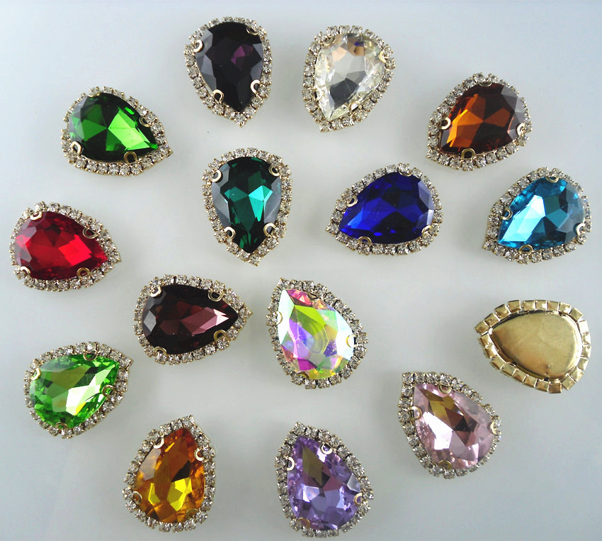 Aliexpress Com Buy 1440pcs Gold Bottom Crystal Clear: Bottom Hole Teardrop Faceted 18x25mm Glass Crystal Around