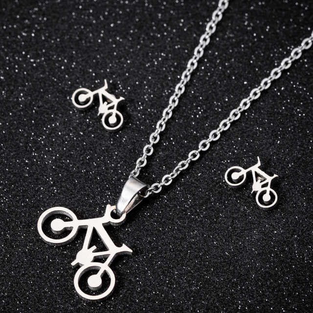 Hfarich Hip Pop Stainless Steel Bicycle Earrings for Women and Men Punk Bike Statement Necklace Jewelry Sets Boyfriend Gifts