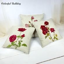 Beautiful Plant Romantic Rose Print Cushion Set Cotton Linen Flower Tulip Pattern Design Home Bedroom Sofa Decorative Pillowcase