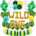 WILD ONE дети первый день рождения воздушные шары искусственные тропические Пальмовые Листья ребенка день рождения девочки мальчика джунгли п...