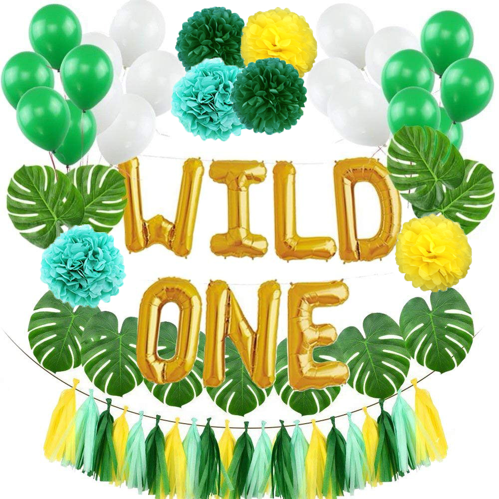 WILD ONE Kids First Birthday Balloons Artificial Tropical Palm Leaves Baby Girl Boy Birthday Jungle Party Decoration SuppliesWILD ONE Kids First Birthday Balloons Artificial Tropical Palm Leaves Baby Girl Boy Birthday Jungle Party Decoration Supplies
