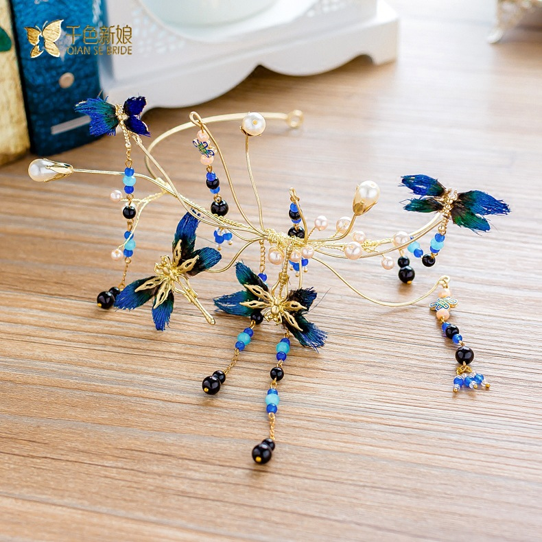 handmade blue feather butterfly tassel hairband bride wedding hair accessories цена 2017