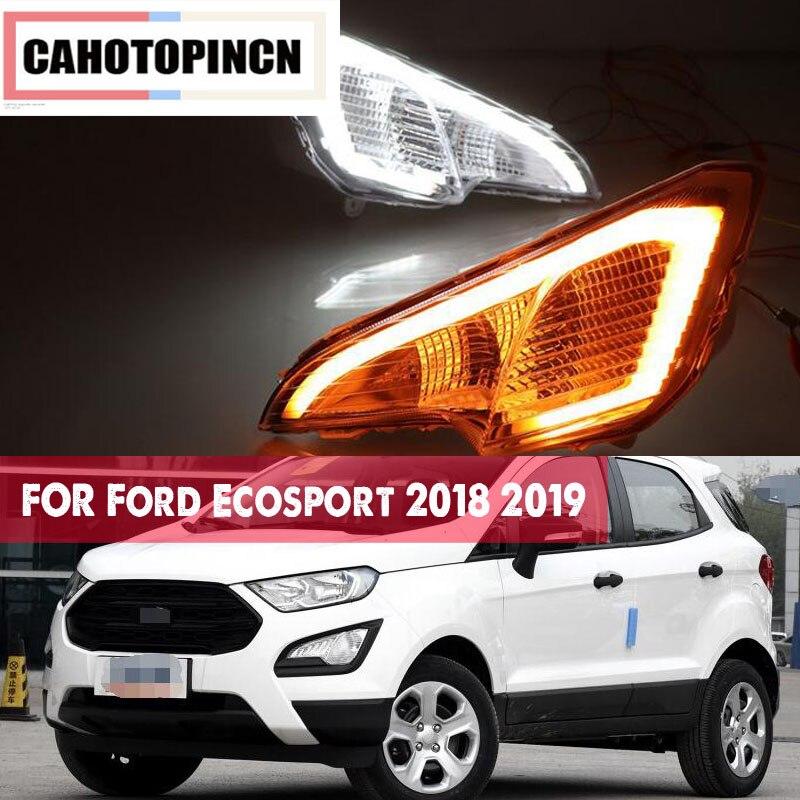 For Ford Ecosport 2018 2019 12V Waterproof ABS LED Car DRL Daytime Running Light Fog lamp