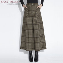 Tartan clothing Business office Palazzo culotttes femme wide leg pants women female loose baggy ladies elegant pants DD428