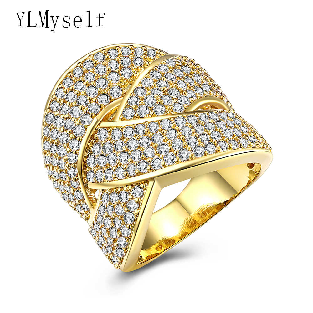 Party Ring Trendy Big Lady jewelry new arrival pave Aaa crystal stones Sparkly white and Gold color rings for women