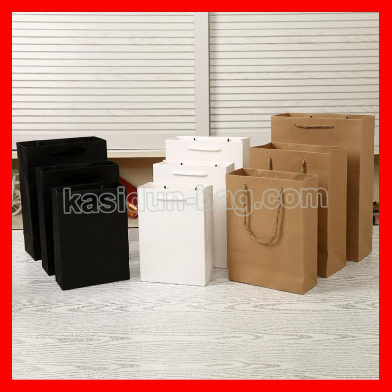 (100PCS/lot) 10 SIZE available wholesale high quality black white brown paper shopping eco bag