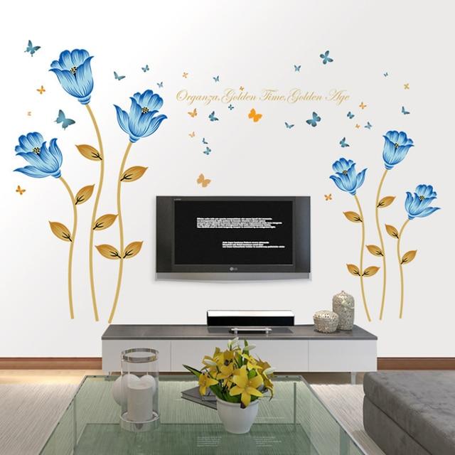 romantisches schlafzimmer in blau, klassische schöne blaue blume schmetterling wandaufkleber, Design ideen
