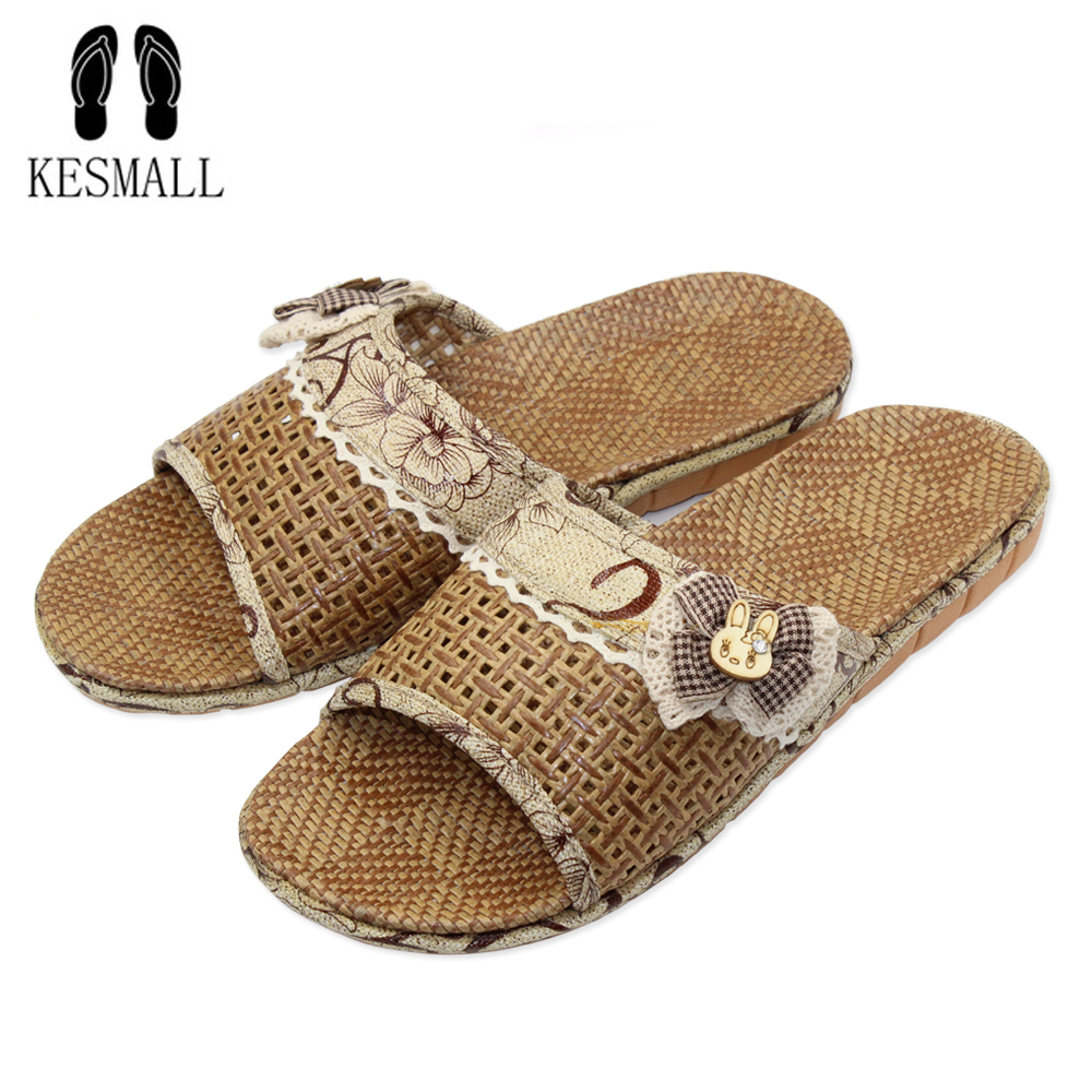 KESMALL Home To Fight Cross-Color Linen Slippers Spring Canvas Flax Slippers High quality Indoor Slippers Women Shoes S14