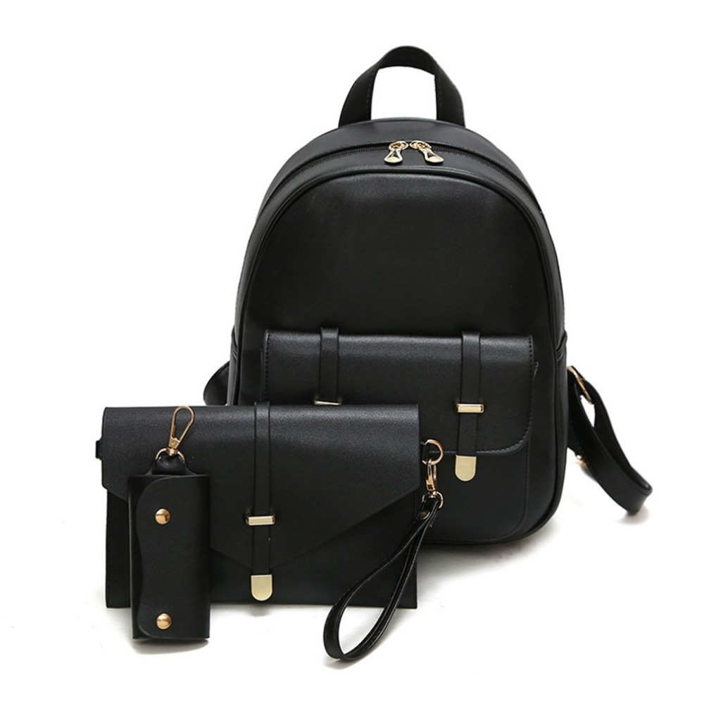 2 Color  Women Composite Bag Pu Leather Backpack 1 Set with 3 pieces Letter Bag ,Key Bag cross body bag for free on great sales