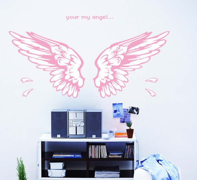 free shipping removable wall sticker 50*70 cm angel wings pink color ...