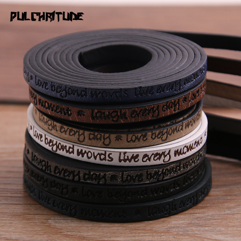 1Meter X 5mm Engraving Letters Love Leather Cord Rope Jewelry Findings Accessories Jewelry Making For Bracelet Diy Hand Made