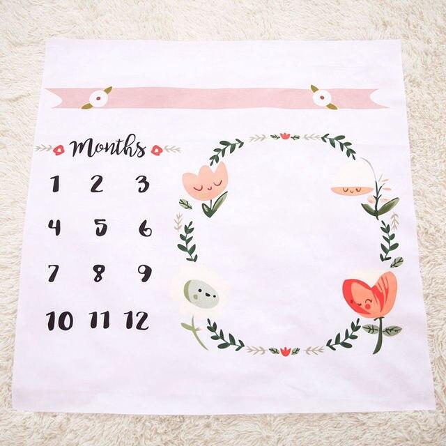 cf7811af4 Bnaturalwell Baby Month Milestone Blanket Baby Age Floral Blanket, Shower  Gift Age Tracking Blanket Newborn