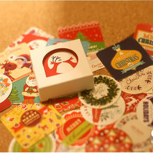 38 pcs/box merry Christmas paper sticker decoration DIY diary scrapbooking sealing kawaii stationery child diy toy