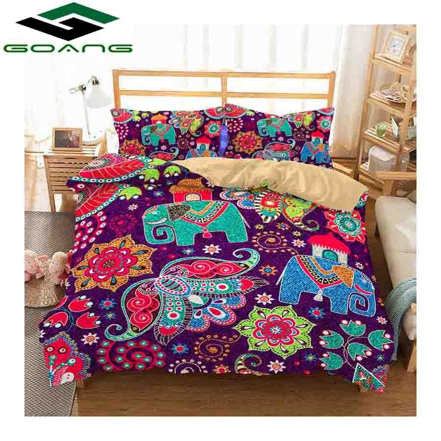 GOANG Bedding Set Duvet Cover Bed Sheet Pillow 100% Polyester 3d Digital Printing Abstract Mandala Elephant Animal Home Textile