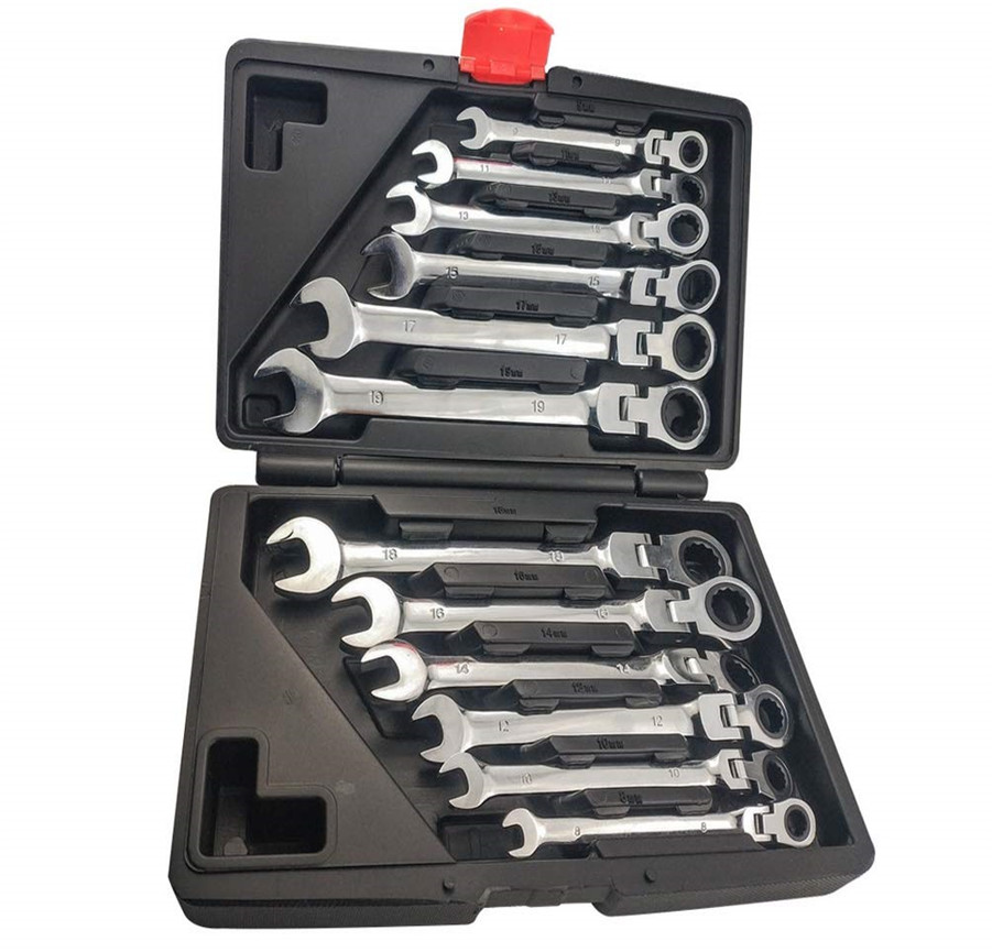 Selling 12 PCS dual purpose ratchet spanner movable head set of auto repair tool 72 teeth 12 piece ratchet wrench set title=