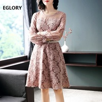 Cutout Flowers Dress New Style 2018 Spring Fashion Women Sexy Sheer Lace Patchwork Dress With Pearl Bead Belts Dress Club Party